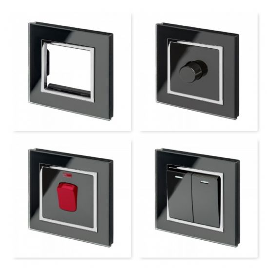 Crystal Black Chrome Trim Glass Switches & Sockets